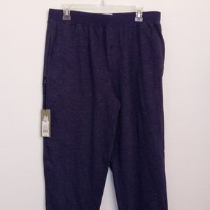 Men's Blue Heather Pajama Bottoms With Pockets